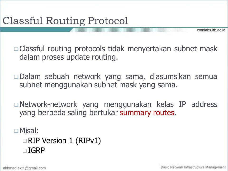 Classful Routing Protocol  Classful routing protocols tidak menyertakan subnet mask dalam proses update routing.  Dalam sebuah network yang sama, di
