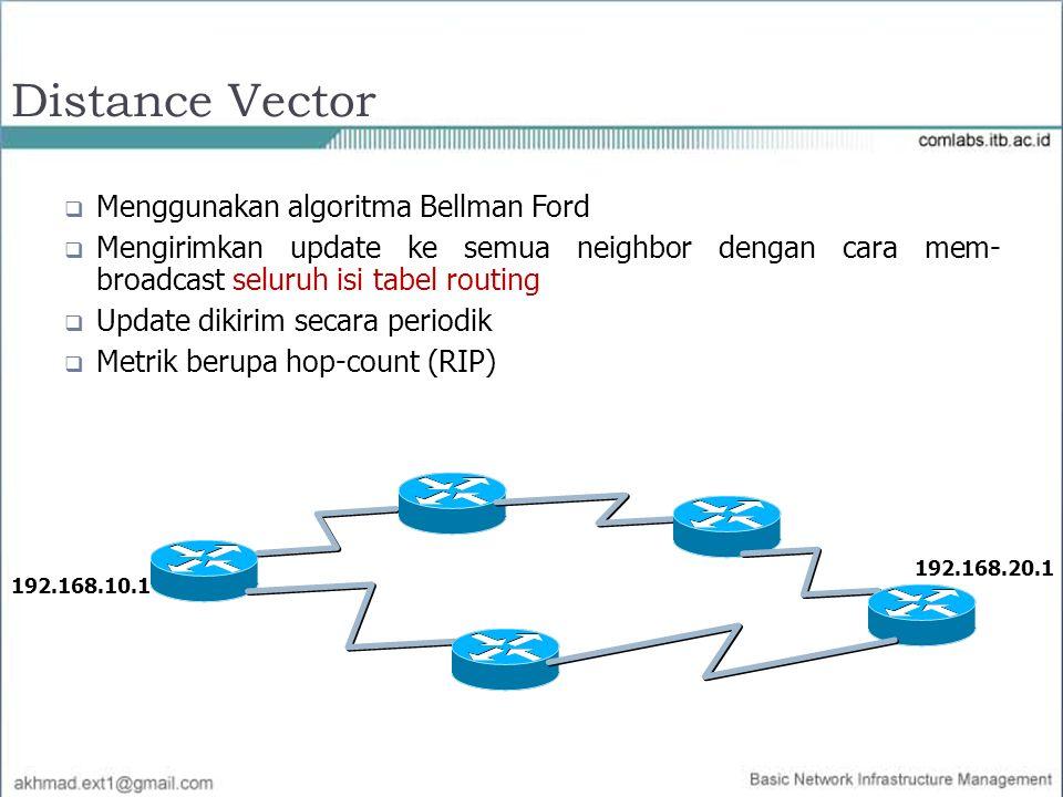 Distance Vector  Menggunakan algoritma Bellman Ford  Mengirimkan update ke semua neighbor dengan cara mem- broadcast seluruh isi tabel routing  Upd