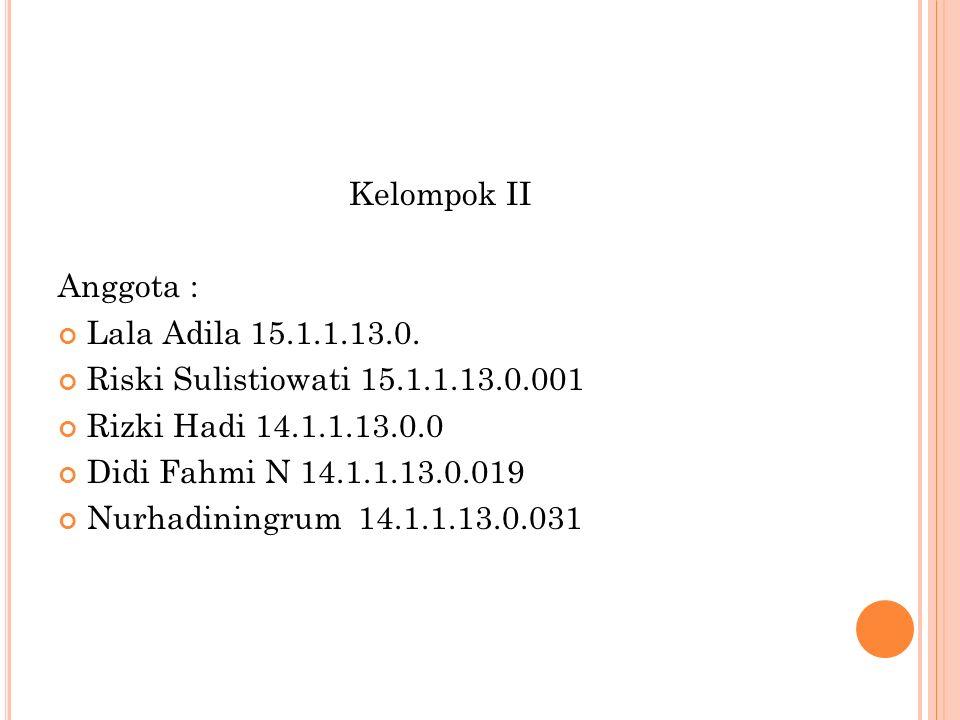 Kelompok II Anggota : Lala Adila15.1.1.13.0.