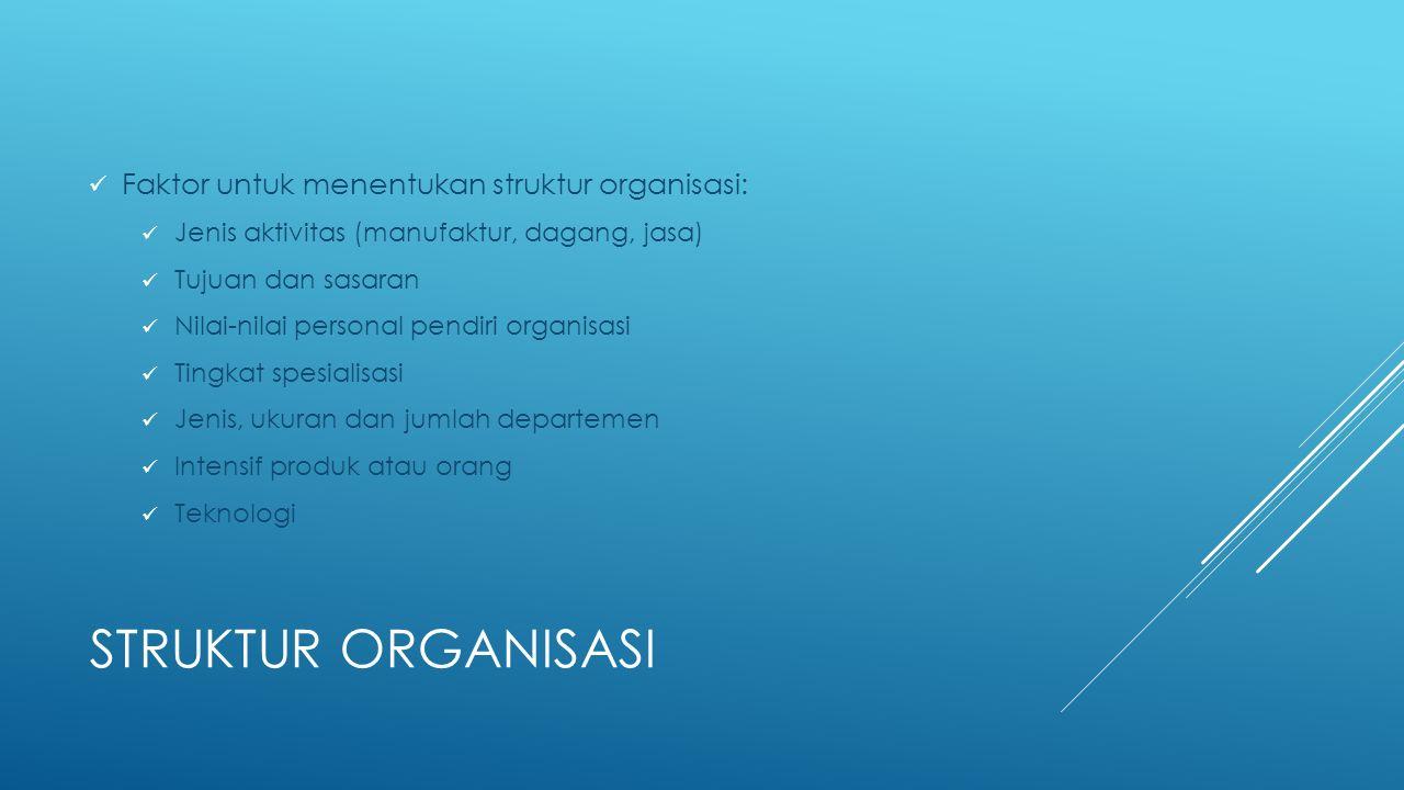 STRUKTUR ORGANISASI Faktor untuk menentukan struktur organisasi: Jenis aktivitas (manufaktur, dagang, jasa) Tujuan dan sasaran Nilai-nilai personal pe