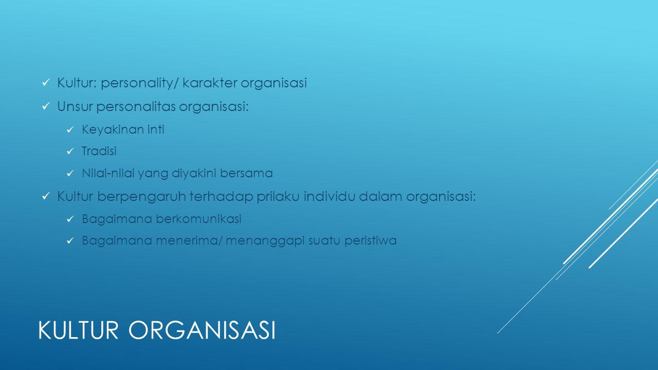 KULTUR ORGANISASI Kultur: personality/ karakter organisasi Unsur personalitas organisasi: Keyakinan inti Tradisi Nilai-nilai yang diyakini bersama Kul