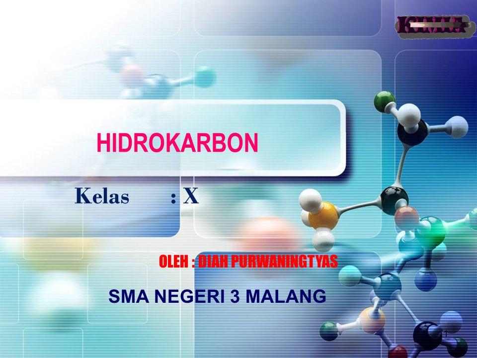 1 HIDROKARBON Kelas : X OLEH : DIAH PURWANINGTYAS SMA NEGERI 3 MALANG