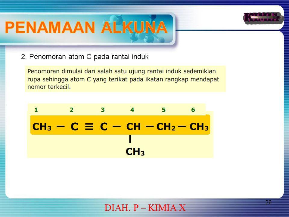 26 DIAH. P – KIMIA X 2. Penomoran atom C pada rantai induk