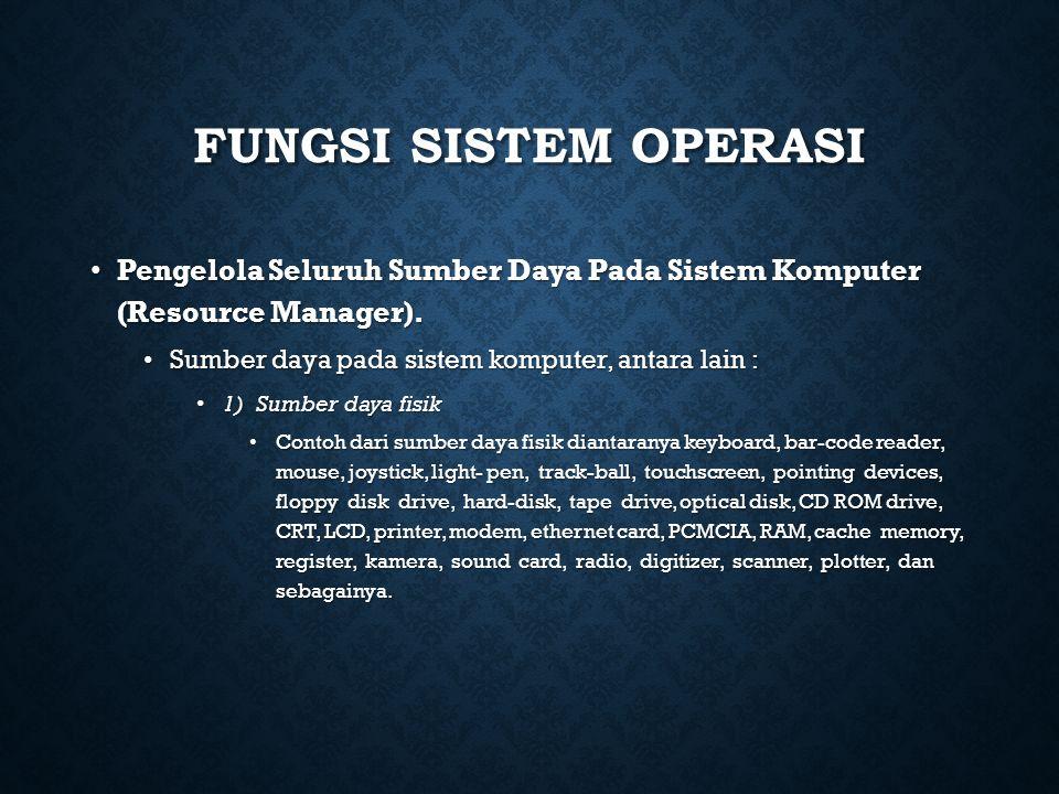 FUNGSI SISTEM OPERASI Pengelola Seluruh Sumber Daya Pada Sistem Komputer (Resource Manager). Pengelola Seluruh Sumber Daya Pada Sistem Komputer (Resou
