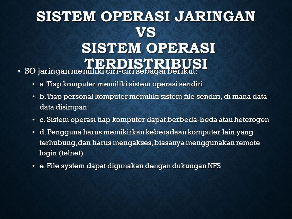 SISTEM OPERASI JARINGAN VS SISTEM OPERASI TERDISTRIBUSI SO jaringan memiliki ciri-ciri sebagai berikut: SO jaringan memiliki ciri-ciri sebagai berikut