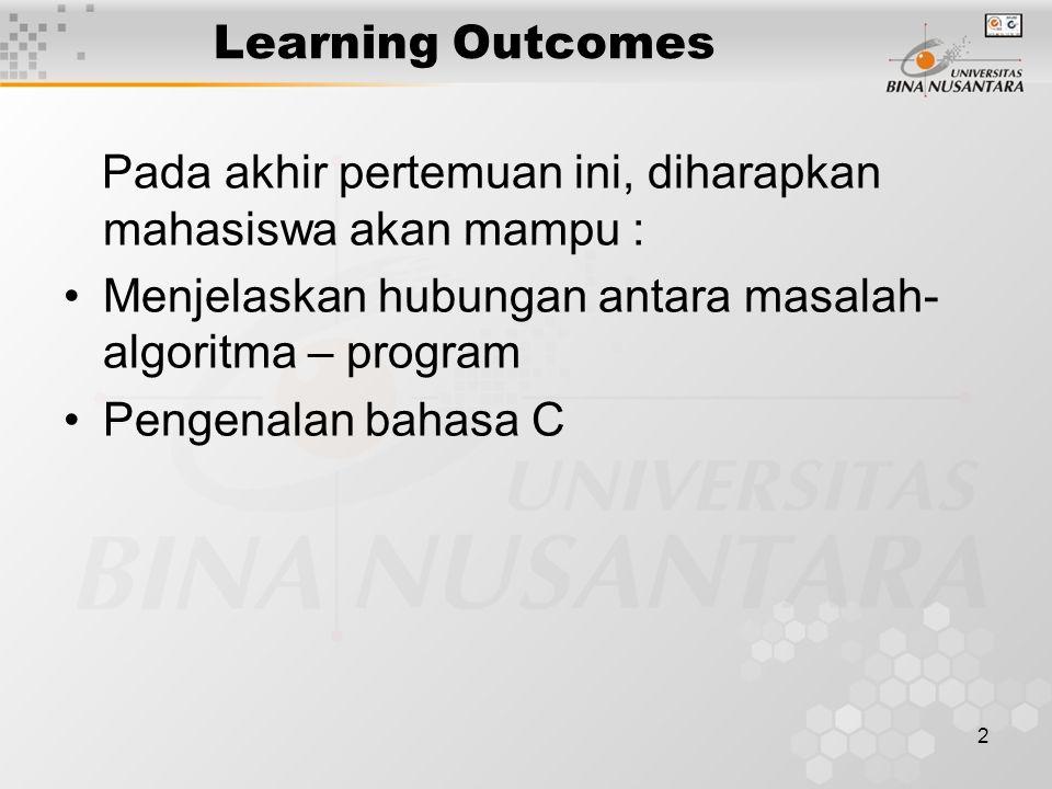 2 Learning Outcomes Pada akhir pertemuan ini, diharapkan mahasiswa akan mampu : Menjelaskan hubungan antara masalah- algoritma – program Pengenalan ba
