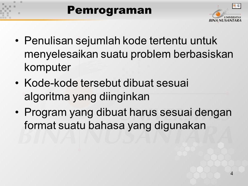 4 Pemrograman Penulisan sejumlah kode tertentu untuk menyelesaikan suatu problem berbasiskan komputer Kode-kode tersebut dibuat sesuai algoritma yang