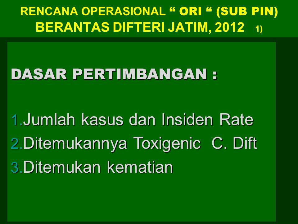 """RENCANA OPERASIONAL """" ORI """" (SUB PIN) BERANTAS DIFTERI JATIM, 2012 1) DASAR PERTIMBANGAN : 1. Jumlah kasus dan Insiden Rate 2. Ditemukannya Toxigenic"""