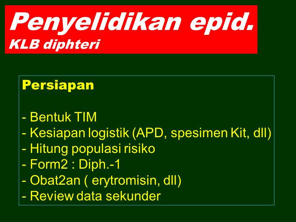 Penyelidikan epid. KLB diphteri Persiapan - Bentuk TIM - Kesiapan logistik (APD, spesimen Kit, dll) - Hitung populasi risiko - Form2 : Diph.-1 - Obat2