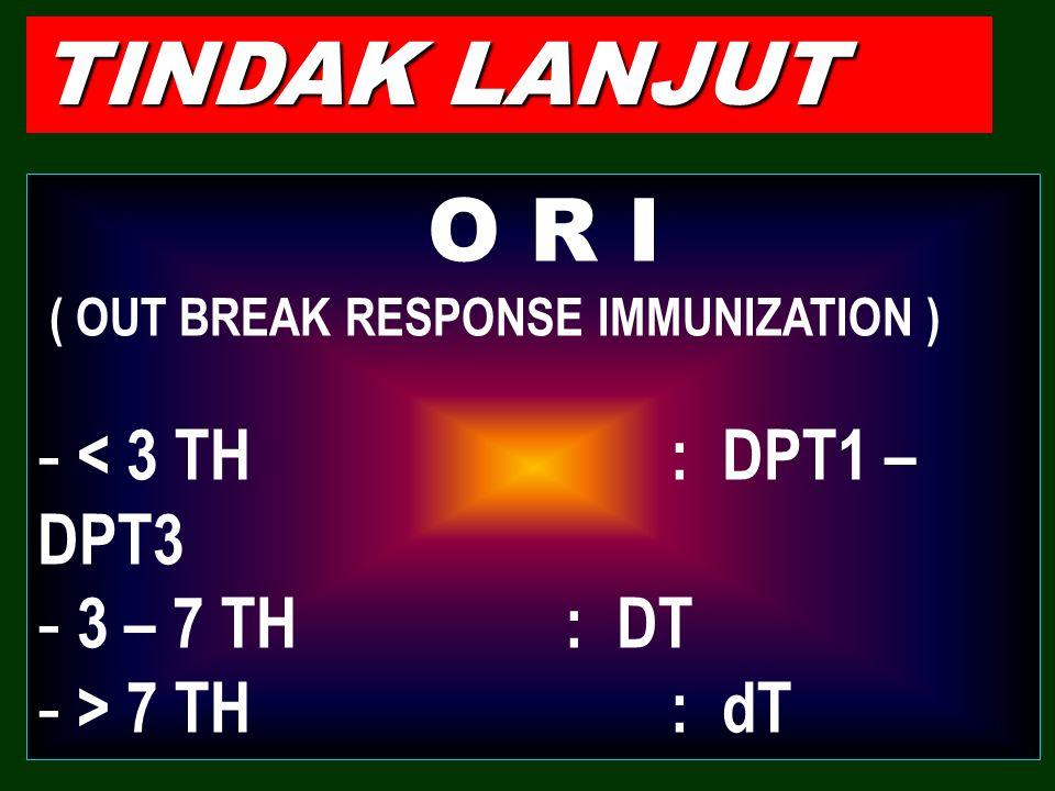 TINDAK LANJUT O R I ( OUT BREAK RESPONSE IMMUNIZATION ) - < 3 TH: DPT1 – DPT3 - 3 – 7 TH: DT - > 7 TH: dT