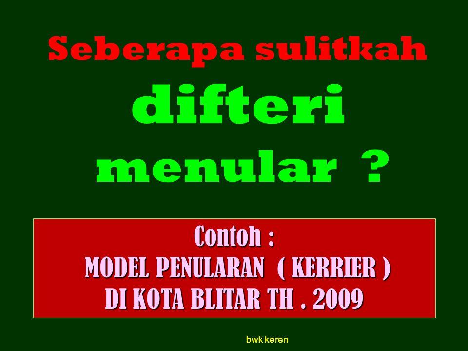 Contoh : MODEL PENULARAN ( KERRIER ) MODEL PENULARAN ( KERRIER ) DI KOTA BLITAR TH. 2009 Seberapa sulitkah difteri menular ? bwk keren