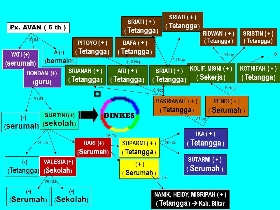 Px. AVAN ( 6 th ) YATI (+) ( serumah ) BONDAN (+) ( guru ) A (-) ( bermain ) (-) ( serumah ) SURTINI (+) ( sekolah ) (-) ( Tetangga ) VALESIA (+) ( Se