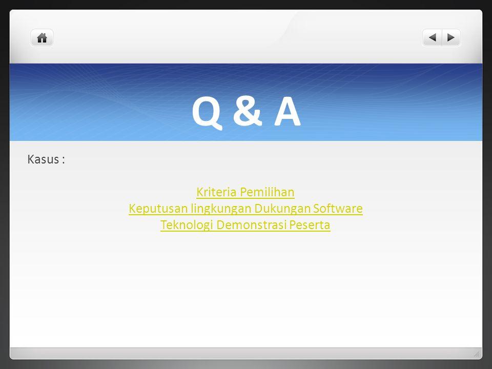 Q & A Kasus : Kriteria Pemilihan Keputusan lingkungan Dukungan Software Teknologi Demonstrasi Peserta