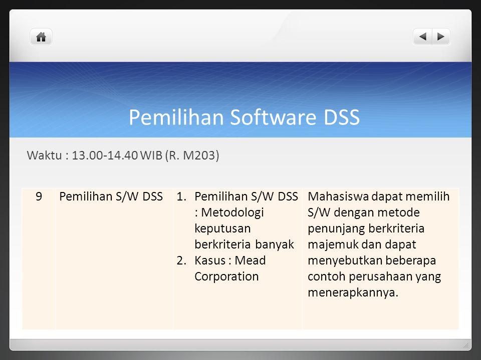 Pemilihan Software DSS Waktu : 13.00-14.40 WIB (R. M203) 9Pemilihan S/W DSS1.Pemilihan S/W DSS : Metodologi keputusan berkriteria banyak 2.Kasus : Mea