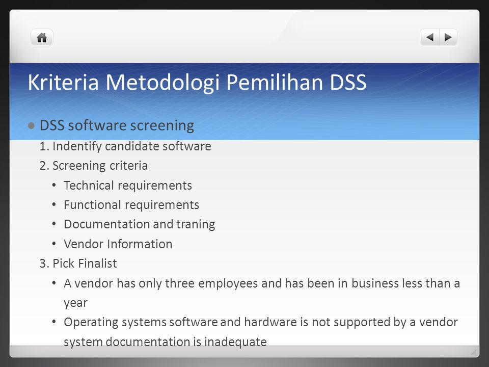 Kriteria Metodologi Pemilihan DSS DSS software screening 1. Indentify candidate software 2. Screening criteria Technical requirements Functional requi