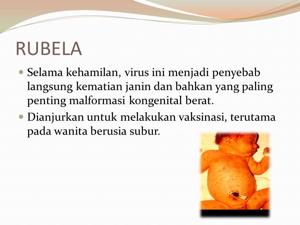 RUBELA Selama kehamilan, virus ini menjadi penyebab langsung kematian janin dan bahkan yang paling penting malformasi kongenital berat. Dianjurkan unt