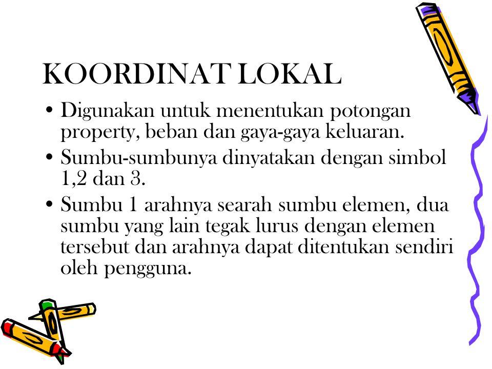 KOORDINAT LOKAL Digunakan untuk menentukan potongan property, beban dan gaya-gaya keluaran. Sumbu-sumbunya dinyatakan dengan simbol 1,2 dan 3. Sumbu 1