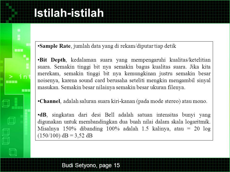 Budi Setyono, page 15 Istilah-istilah Sample Rate, jumlah data yang di rekam/diputar tiap detik Bit Depth, kedalaman suara yang mempengaruhi kualitas/ketelitian suara.