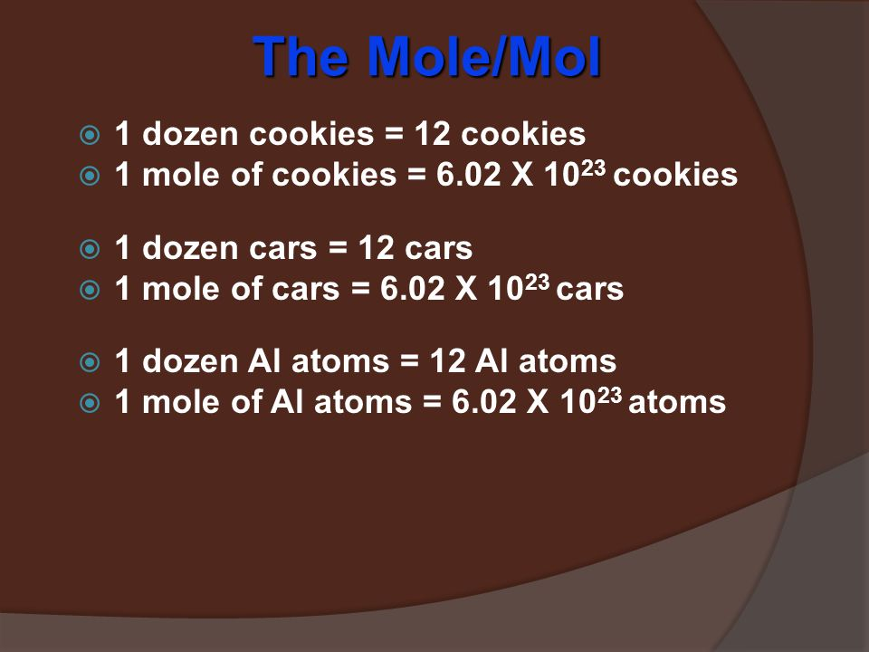 The Mole  A counting unit  Similar to a dozen, except instead of 12, it's 602,000,000,000,000,000,000,000  6.02 X 10 23 (in scientific notation) Amedeo Avogadro (1776 – 1856)  This number is named in honor of Amedeo Avogadro (1776 – 1856)