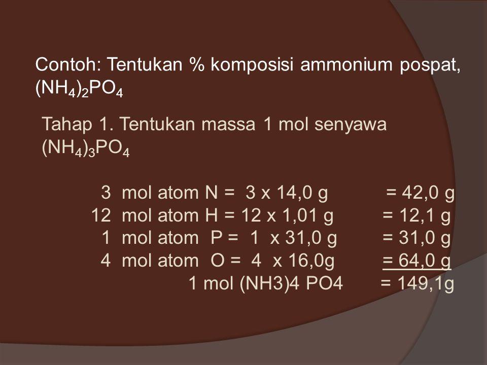 Persen Komposisi Penentuan persen komposisi: 1.Tentukan massa 1 mol suatu zat (massa molar) 2.Bagi masing-masing massa unsur dengan massa molarnya, ke