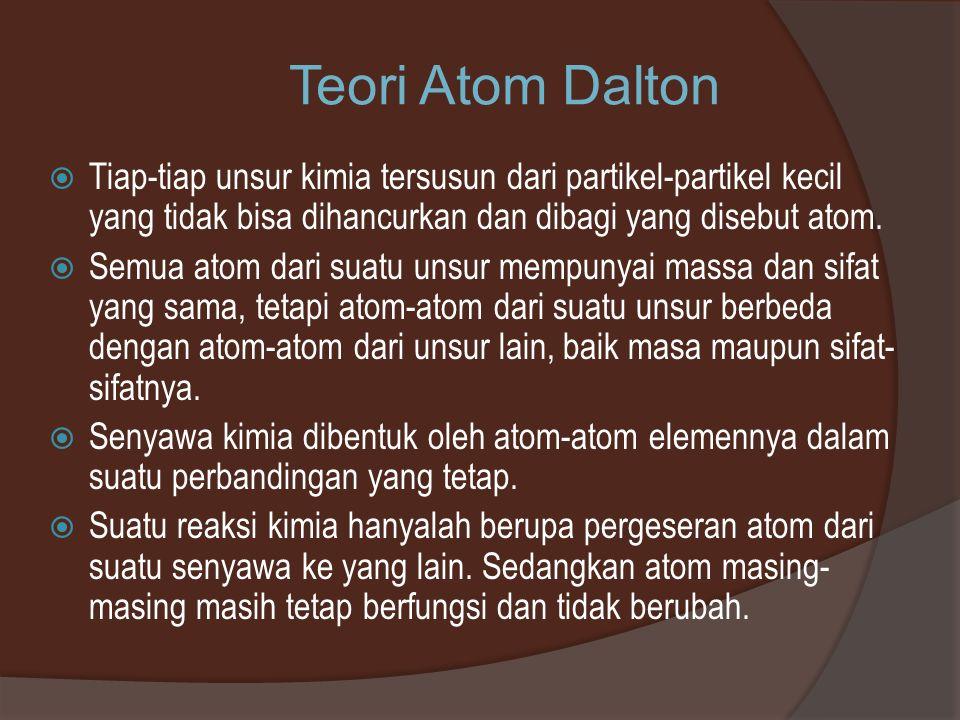 Teori Atom Dalton  Tiap-tiap unsur kimia tersusun dari partikel-partikel kecil yang tidak bisa dihancurkan dan dibagi yang disebut atom.