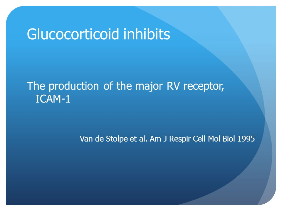 Glucocorticoid inhibits The production of the major RV receptor, ICAM-1 Van de Stolpe et al.