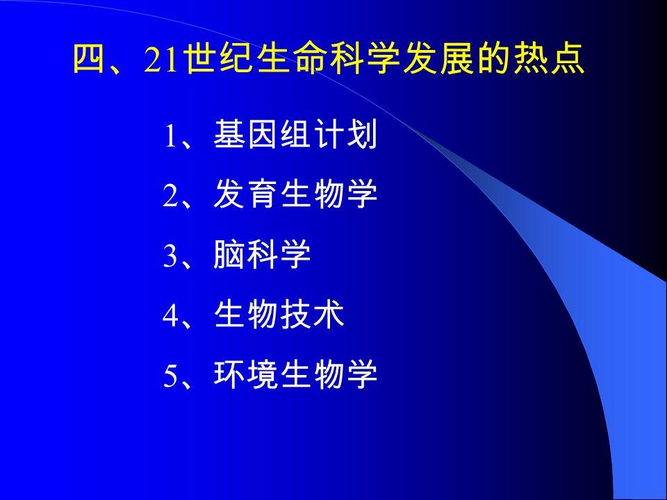 四、 21 世纪生命科学发展的热点 1 、基因组计划 2 、发育生物学 3 、脑科学 4 、生物技术 5 、环境生物学
