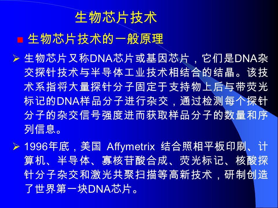 生物芯片技术 生物芯片技术的一般原理  生物芯片又称 DNA 芯片或基因芯片,它们是 DNA 杂 交探针技术与半导体工业技术相结合的结晶。该技 术系指将大量探针分子固定于支持物上后与带荧光 标记的 DNA 样品分子进行杂交,通过检测每个探针 分子的杂交信号强度进而获取样品分子的数量和序 列信息。  1996 年底,美国 Affymetrix 结合照相平板印刷、计 算机、半导体、寡核苷酸合成、荧光标记、核酸探 针分子杂交和激光共聚扫描等高新技术,研制创造 了世界第一块 DNA 芯片。