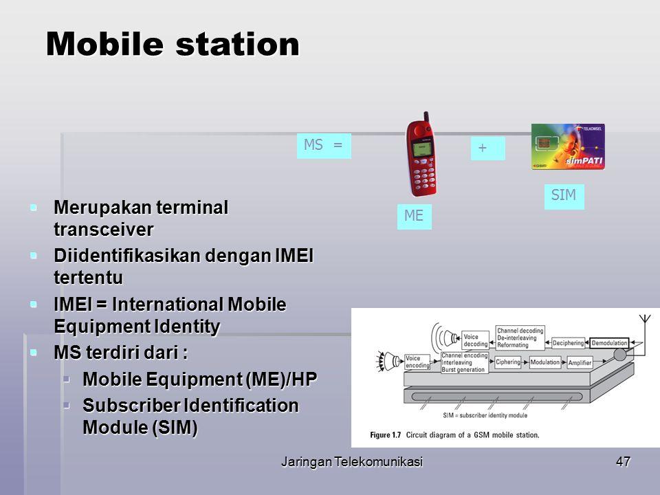 Jaringan Telekomunikasi48 SIM Card  Subscriber Identity Module (SIM) adalah sebuah smart card yang berisi seluruh informasi user dan beberapa feature dari GSM  Informasi yang ada berupa : Authentication Key Ki Authentication Key Ki 2 algorithma enkripsi.