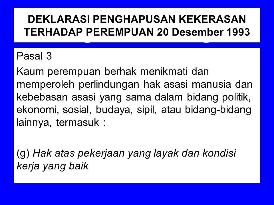 DEKLARASI PENGHAPUSAN KEKERASAN TERHADAP PEREMPUAN 20 Desember 1993 Pasal 3 Kaum perempuan berhak menikmati dan memperoleh perlindungan hak asasi manu