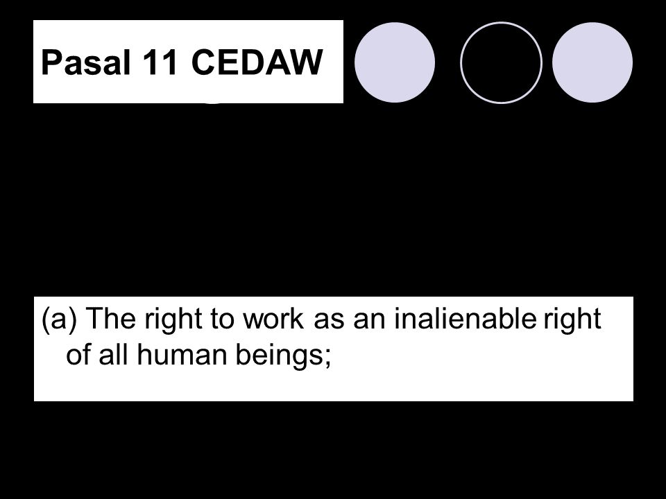 Pasal 11 CEDAW (a) The right to work as an inalienable right of all human beings;