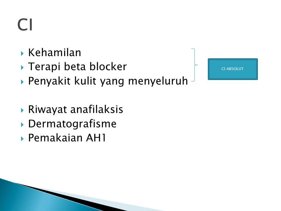  Kehamilan  Terapi beta blocker  Penyakit kulit yang menyeluruh  Riwayat anafilaksis  Dermatografisme  Pemakaian AH1 CI ABSOLUT