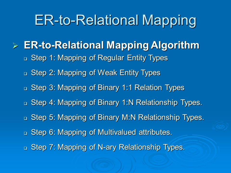 ER-to-Relational Mapping  ER-to-Relational Mapping Algorithm  Step 1: Mapping of Regular Entity Types  Step 2: Mapping of Weak Entity Types  Step