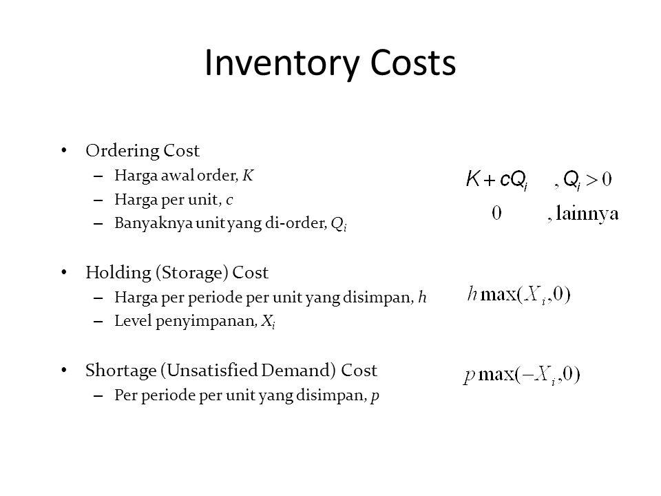 Inventory Costs Ordering Cost – Harga awal order, K – Harga per unit, c – Banyaknya unit yang di-order, Q i Holding (Storage) Cost – Harga per periode per unit yang disimpan, h – Level penyimpanan, X i Shortage (Unsatisfied Demand) Cost – Per periode per unit yang disimpan, p