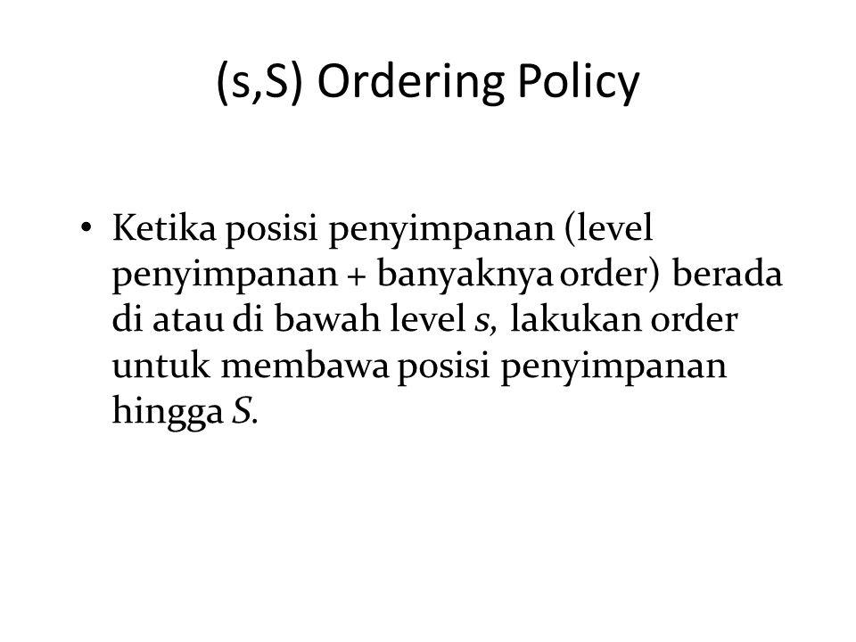Ketika posisi penyimpanan (level penyimpanan + banyaknya order) berada di atau di bawah level s, lakukan order untuk membawa posisi penyimpanan hingga S.
