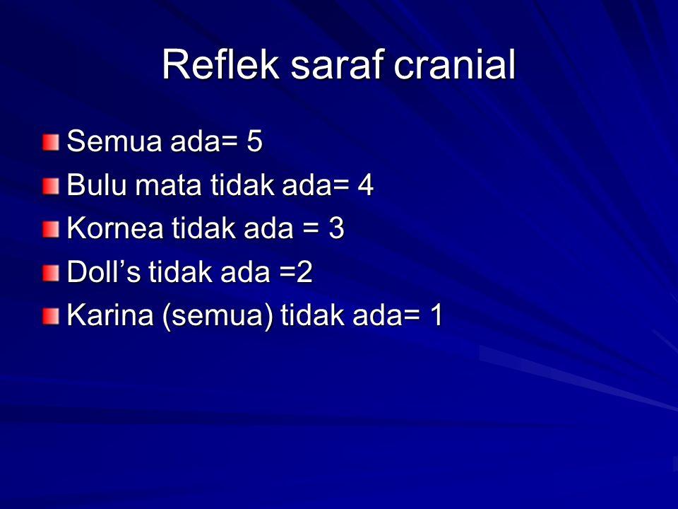 Respon pupil thd cahaya Normal = 5 Lambat= 4 Respon tidak sama = 3 Besar tidak sama = 2 Tidak ada respon = 1 Tidak ada respon = 1