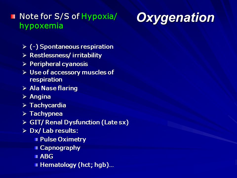 Oxygenation Assess respiratory status. Maintain patent airway & adequate ventilation. Watch for S/S of hypoxia & hypercapnia…