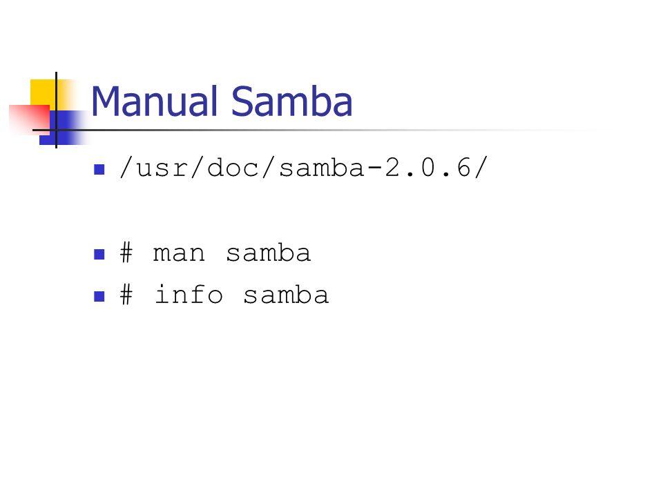 Manual Samba /usr/doc/samba-2.0.6/ # man samba # info samba