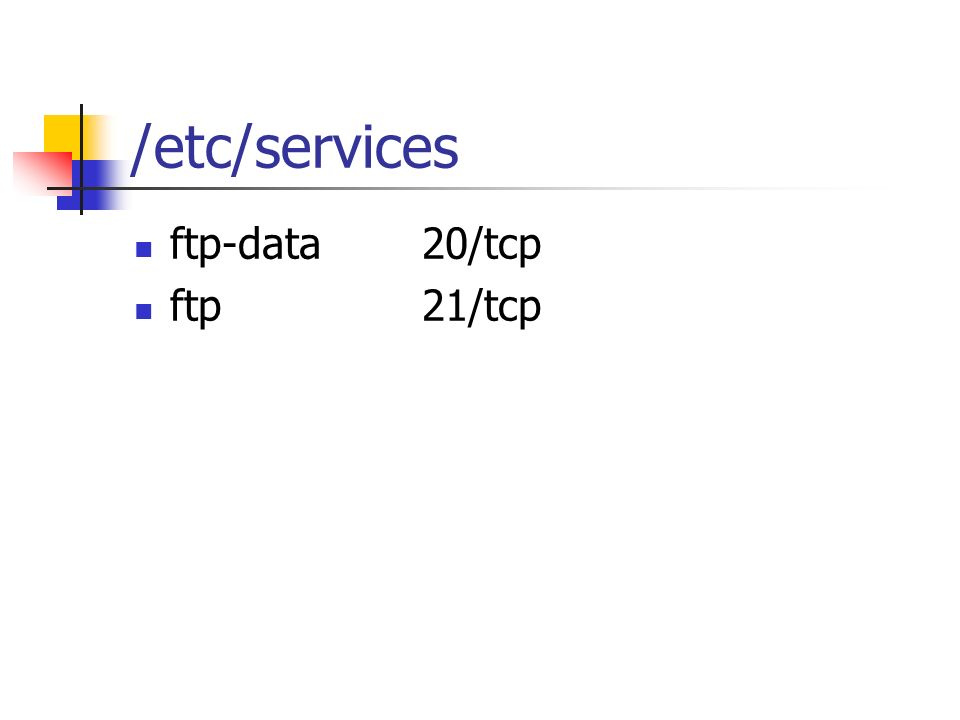 /etc/services ftp-data20/tcp ftp21/tcp