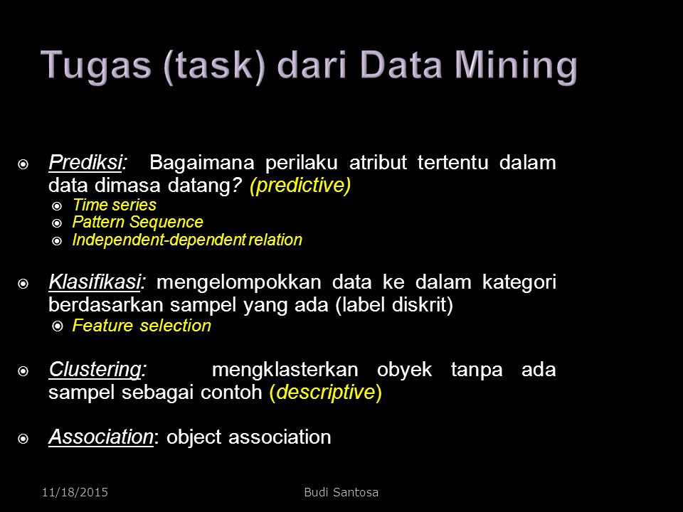 11/18/2015Budi Santosa Knowledge Discovery dan Data Mining  Non-trivial extraction of implicit, unknown, and potentially useful information from data