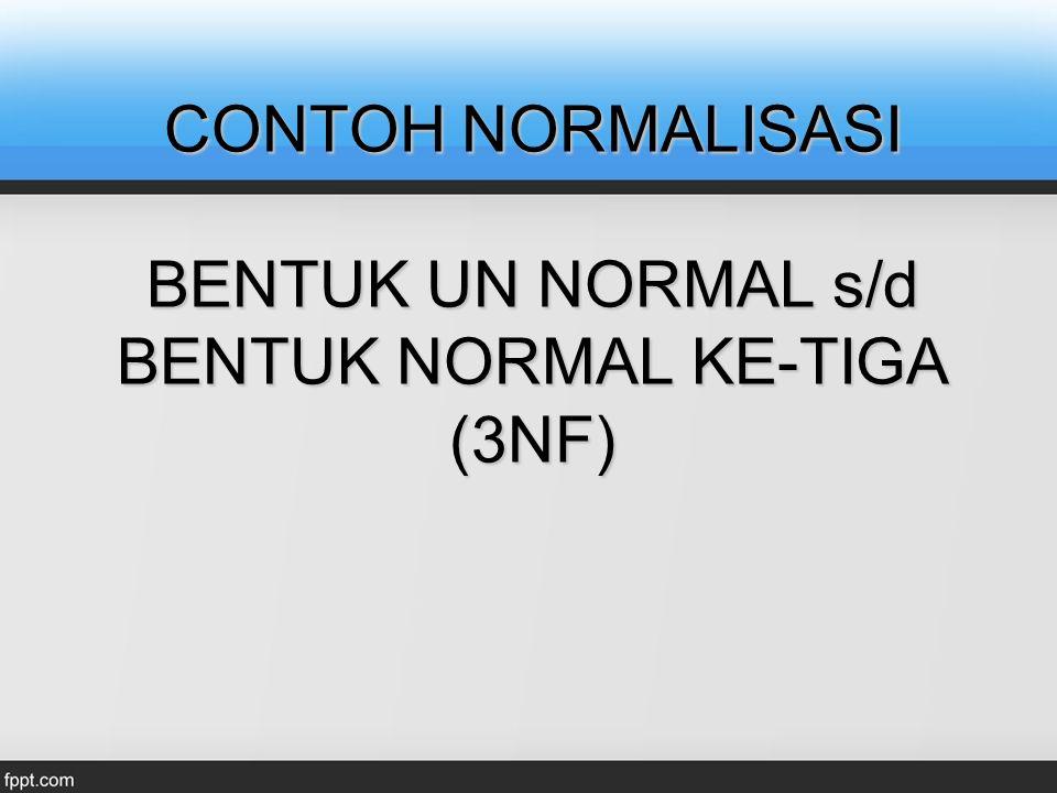 CONTOH NORMALISASI BENTUK UN NORMAL s/d BENTUK NORMAL KE-TIGA (3NF)