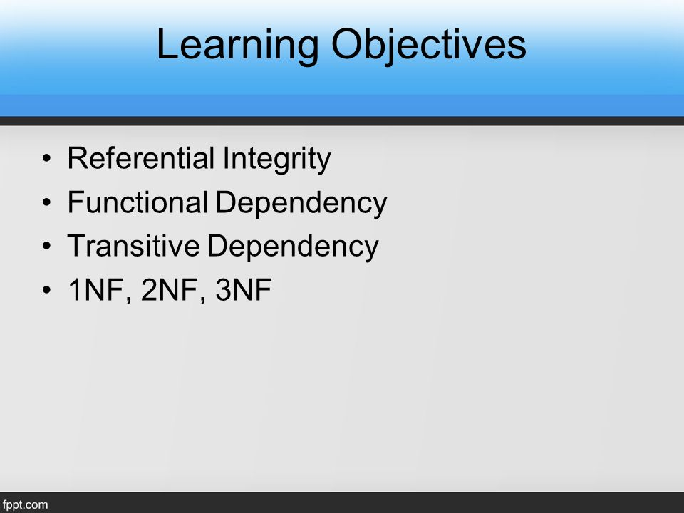 Learning Objectives Referential Integrity Functional Dependency Transitive Dependency 1NF, 2NF, 3NF