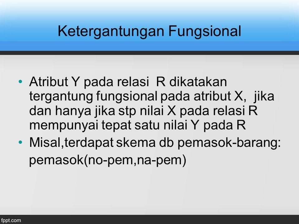 Ketergantungan Fungsional Atribut Y pada relasi R dikatakan tergantung fungsional pada atribut X, jika dan hanya jika stp nilai X pada relasi R mempun