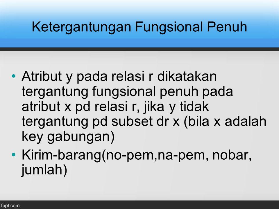 Tabel Pemasok-1 (2nf) NO-PEMKODE-KOTAKOTA P01 P02 P03 132132 JAKARTA BANDUNG SURABAYA