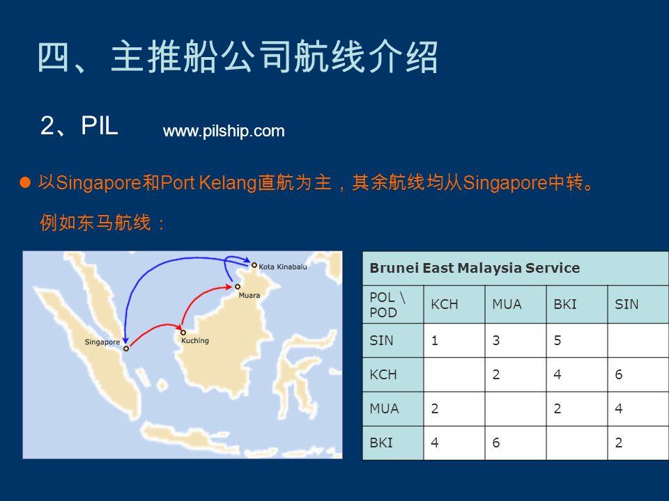 四、主推船公司航线介绍 2 、 PIL www.pilship.com 以 Singapore 和 Port Kelang 直航为主,其余航线均从 Singapore 中转。 例如东马航线: Brunei East Malaysia Service POL \ POD KCHMUABKISIN 135 KCH 246 MUA2 24 BKI46 2