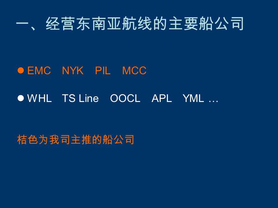 EMC NYK PIL MCC WHL TS Line OOCL APL YML … 桔色为我司主推的船公司 一、经营东南亚航线的主要船公司