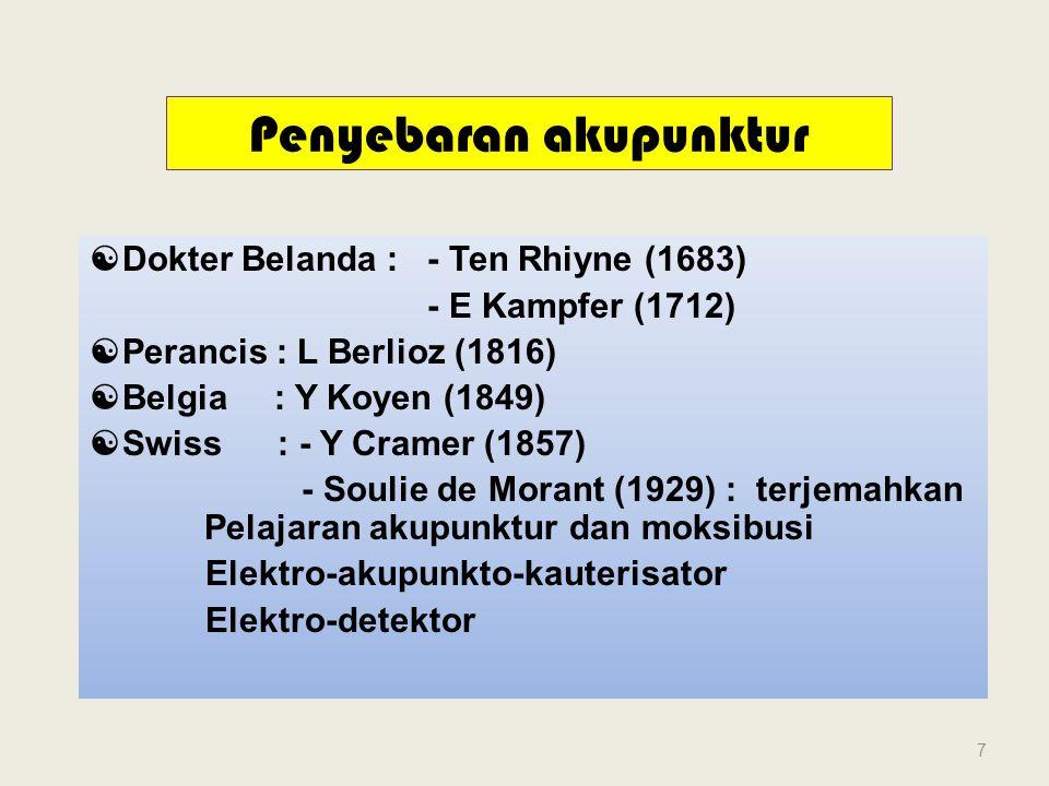 Penyebaran akupunktur  Dokter Belanda : - Ten Rhiyne (1683) - E Kampfer (1712)  Perancis : L Berlioz (1816)  Belgia : Y Koyen (1849)  Swiss : - Y