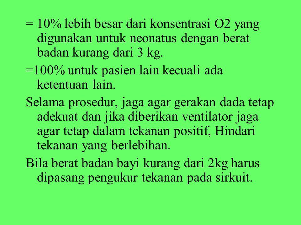 = 10% lebih besar dari konsentrasi O2 yang digunakan untuk neonatus dengan berat badan kurang dari 3 kg. =100% untuk pasien lain kecuali ada ketentuan