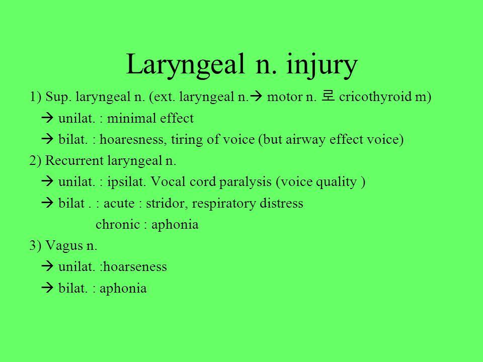 Laryngeal n. injury 1) Sup. laryngeal n. (ext. laryngeal n.  motor n. 로 cricothyroid m)  unilat. : minimal effect  bilat. : hoaresness, tiring of v