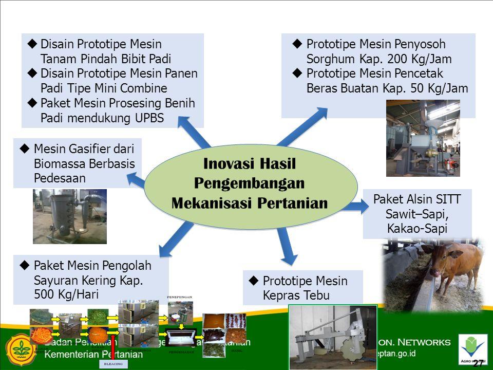  Disain Prototipe Mesin Tanam Pindah Bibit Padi  Disain Prototipe Mesin Panen Padi Tipe Mini Combine  Paket Mesin Prosesing Benih Padi mendukung UPBS  Prototipe Mesin Penyosoh Sorghum Kap.
